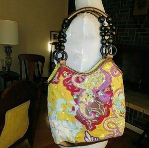 Vintage Bueno Silk Paisley Print Bag